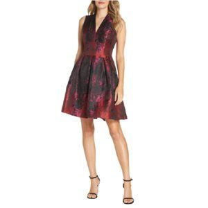 NWT Vince Camuto Metallic Jacquard Fit & Flare Dress in Pink Multi